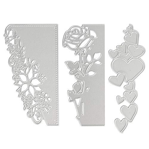 OOTSR 3 piezas Troqueles de corte de metal, Plantillas de corte en relieve 3D para Scrapbooking/Creación de tarjetas/Artesanía de bricolaje, Rosa/corazón/encaje patrón