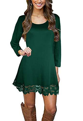 Afibi Women's Long Sleeve A-Line Lace Stitching Trim Casual Dress (X-Small, Dark Green)
