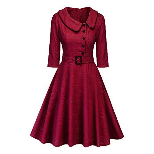 Longra Elegante Abito Vintage da Donna Vestiti da Sera Abiti in Maglia Houndstooth con Cintura Abito Rockabilly Swing Dress Vestito da Audery Swing Ab