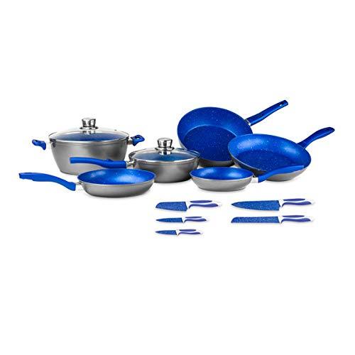 FlavorStone Batería de Cocina Family Set con Recubrimiento Antiadherente, 13 Piezas, Incluye 5 Sartenes, 1 Cacerola, 2 Tapas de Vidrio Templado y 5 Cuchillos, Color Azul