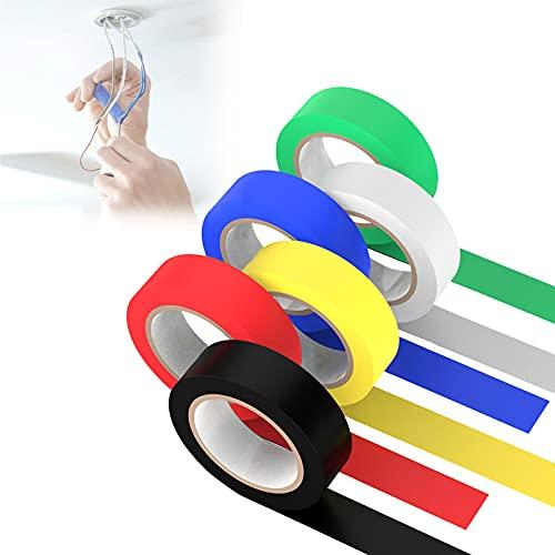 6 Farben Isolierband 15 m x 16 mm, Isolierbänder, Klebeband, Hohe Flexibilität und Klebekraft, Isolierband Set (Rot, Gelb, Blau, Grün, Schwarz, Weiß)