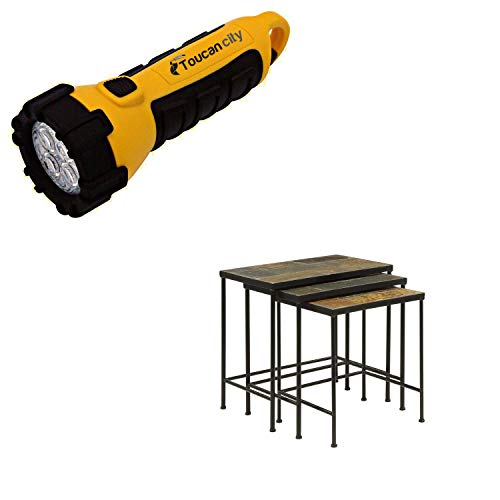 Toucan City LED Flashlight and 4D Concepts Wales Stone 18-20 in. Black 3 Piece Slate Top Nesting Tables 10169