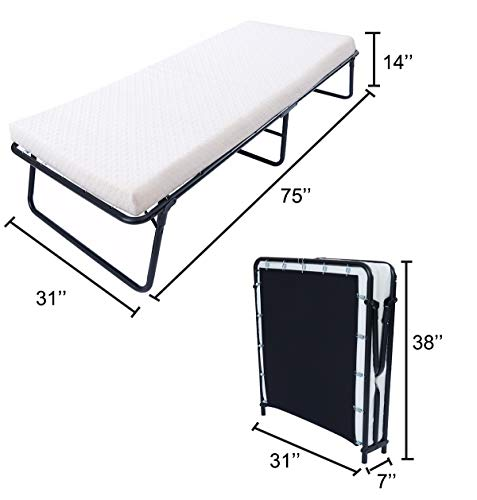 Leisuit Rollaway Guest Bed Cot Fold Out Bed - Portable Folding Bed Frame with Thick Memory Foam Mattress for Spare Bedroom