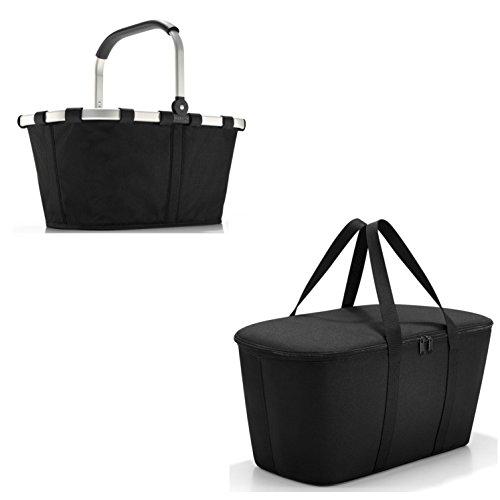 Schönes reisenthel Einkaufsset 2tlg. Bestehend aus reisenthel carrybag/Einkaufskorb und reisenthel coolerbag/Kühltasche in Dem Trendigen Dekoren (Schwarz/Black)