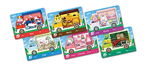 6pcs Animal Crossing Sanrio NFC Amiibo Cards Collaboration Pack, (Rilla, Marty, étoile, Chai, Chelsea, Toby). Compatible Switch New Horizons.
