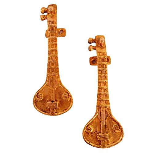 Wonderlist Handicrafts Türklopfer Türgriffe aus reinem Messing für die Haupttür, indisches Musikinstrument Sitar
