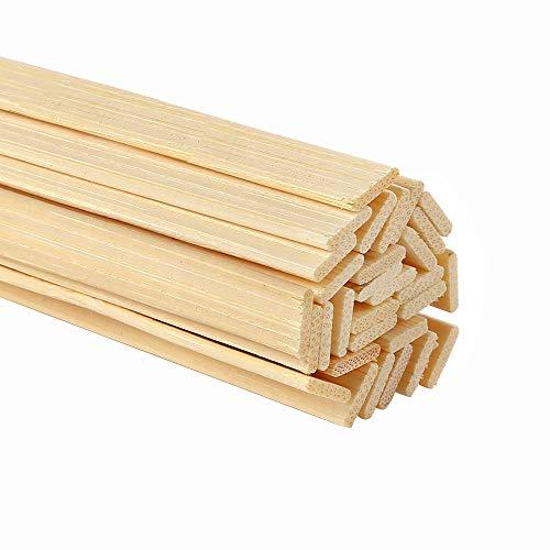 Pllieay 30pz bastoncini in bambù naturale per lavori artigianali in legno extra lunghi per lavori artigianali, 40x0.9x0.2CM