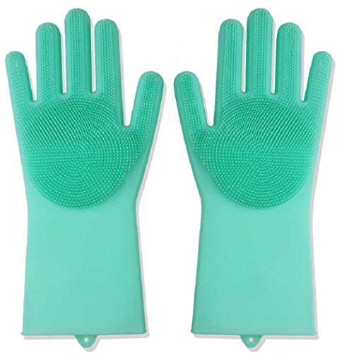 キッチングローブシリコングローブ(1ペア:左+右)、皿洗い洗濯耐熱グローブキッチンツールクリーニング、家庭用掃除手袋、キッチン、バスルーム、皿洗い、車の洗浄、ペットヘアケアに最適 (グリーン)