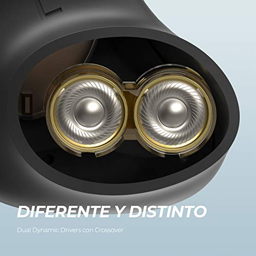 SoundPEATS Auriculares inalámbricos Bluetooth 5.0, Truengine 3SE Auriculares Dual Dynamic Drives APTX IPX6 Audio Sonido Estéreo Cancelación de Ruido CVC 4-Micrófono Control Táctil USB-C