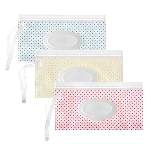 StyleBest Bolsa para toallitas húmedas de 3 Piezas Bolsa para toallitas húmedas para bebés Estuche para toallitas húmedas Reutilizable Recargable Estuches para toallitas húmedas Dispensador