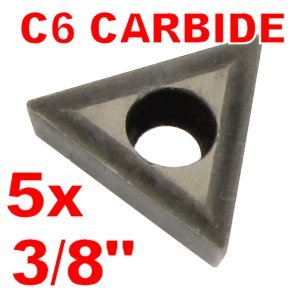 """Anytime Tools 3/8"""" C6 Carbide Insert for Indexable Lathe Toolholder TCMT110204, 5-Pack"""