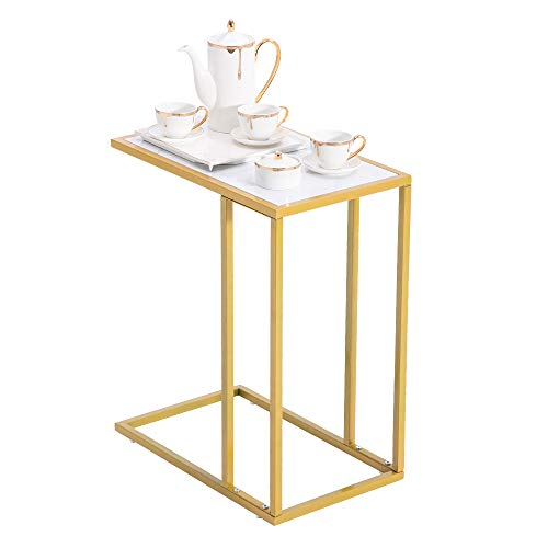 Bonnlo Side Tables Living Room, Faux Marble End Table C-shaped Side Table White Sofa Table Nightstand Narrow Bedside Table for Living Room, Bedroom, Gold/Metal Frame
