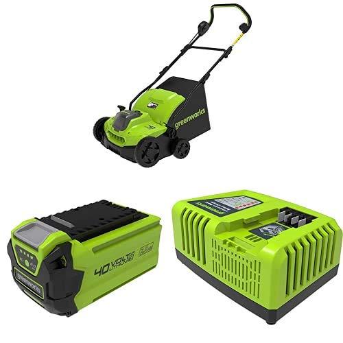 Greenworks Tools 2511507 Escarificador, 40 V + Batería G40B25 2ª generación (pack de 2) + Cargador Rápido de Batería G40UC4