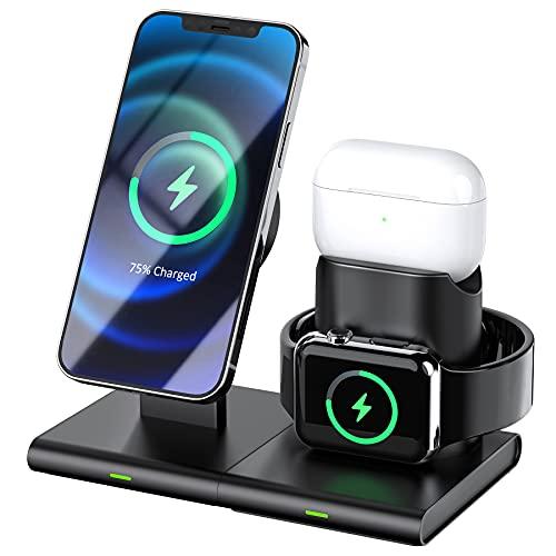 Hoidokly Caricatore Wireless 3 in 1, Caricabatterie Wireless Magnetica Compatibile con iPhone 12/12 Pro/12 Pro Max/12 Mini, iWatch 6/5/4/3/2/1/SE, AirPods Pro/1/2 (Nessun adattatore e cavo iWatch)