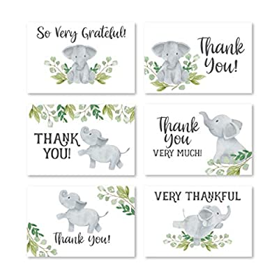 24 Greenery Elephant Thank You Cards With Envelopes, Kids or Baby Shower Thank You Note, Animal 4x6 Varied Gratitude Card Pack Party, Birthday, For Boy or Girl Children, Cute Appreciation Stationery by Hadley Designs