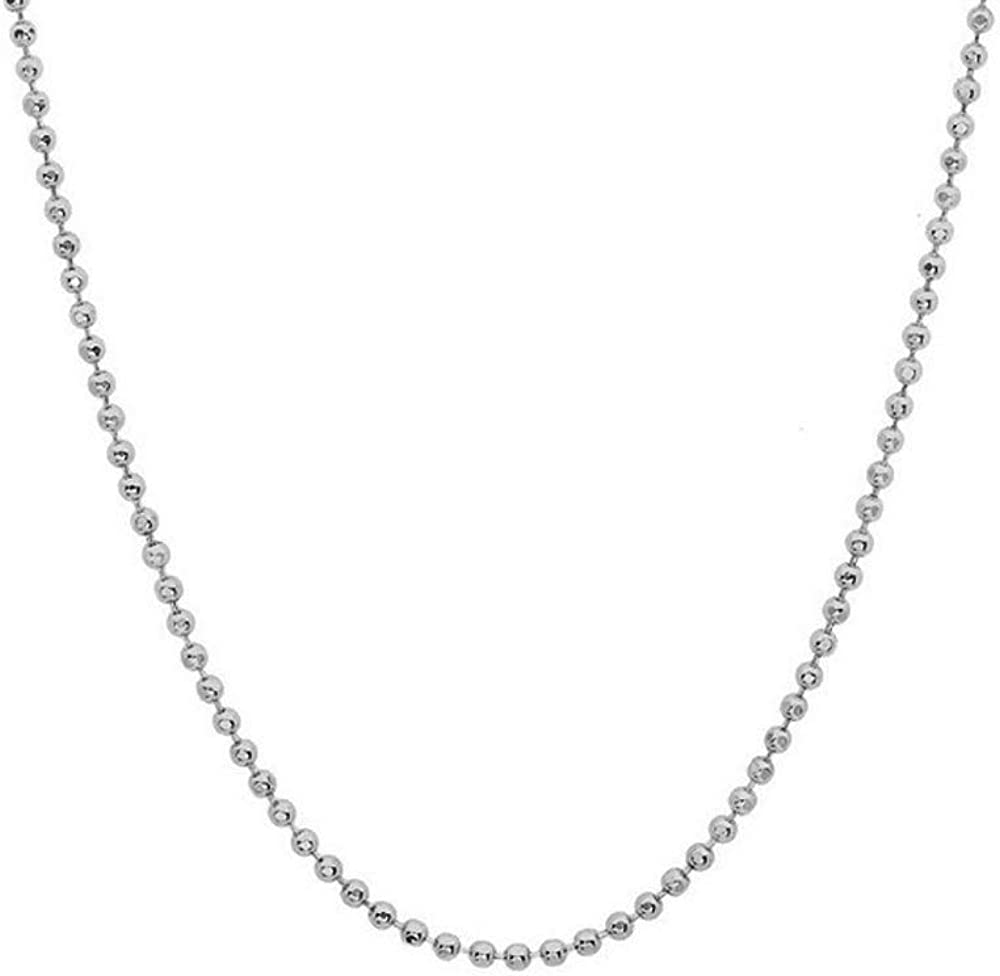 JewelStop 14k Solid White Gold 1 mm Diamond-Cut Bead Chain Necklace, Lobster Claw - 16 Inches, 1.7gr.