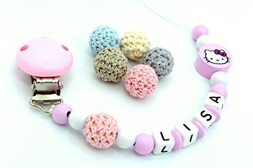 Schnullerkette mit Namen ♥ Mädchen ♥ Häkelperle Hello Kitty ★ Rosa
