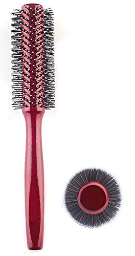 Small Round Hair Brush for Blow Drying With Soft Nylon Bristles, 1.6 Inch, for Short or Medium Curly Hair-Red