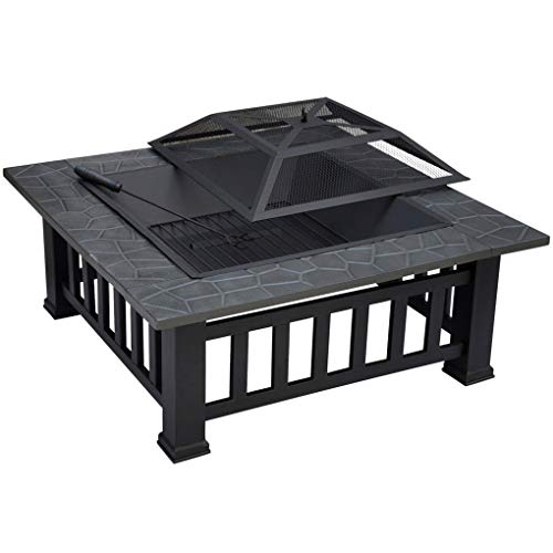 Autopeck Large Fire Pit Outdoor Square Steel Fire Pit 31.88'' Camping Bbq Grill 2020 New Upgrade Log Charcoal Burner Heater with Poker and Rainproof Cover
