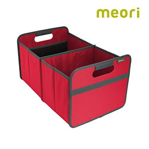 Faltbox Classic Large Hibiskus Rot / Uni 32x50x27,5cm stabil, abwischbar, Polyester Sommer Urlaub Strand Baggersee Freizeit mit Griffen Klappbox Verstauen Räumen