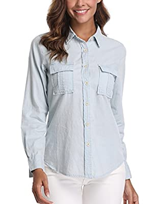 Denim Shirt for Women Rolled Long Sleeves Cotton Washed Point Collar Chambray Western Jean Tops