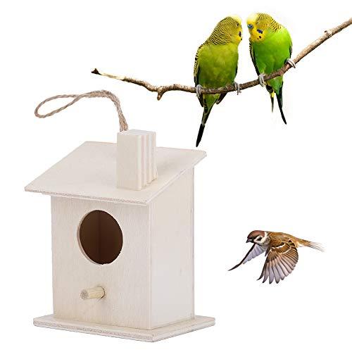 Casetta per uccelli in legno, scatola per allevamento di uccelli da appendere 4 pezzi non facile da essere mangiata dagli insetti per pappagallo pappagallino Finch Cockatiel