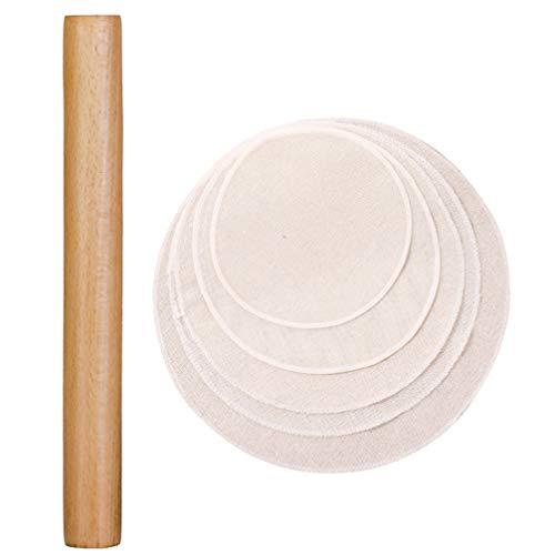 Cabilock Teigroller Holz 16cm Nudelhölzer mit 5 Stück 20cm Dampfgarer Tuch Küche Backrolle Dim Sum Brötchen Kuchen Nudelteig Dessert Pie Backzubehör Backwerkzeug Küchenhelfer