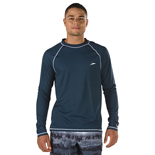 Speedo Men's Uv Swim Shirt Long Sleeve Loose Fit Easy Tee,New Navy,Large