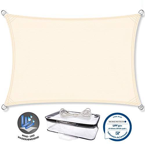 CelinaSun Sonnensegel PES Rechteck 2x4m Creme weiß UPF 50+ Sonnenschutz inkl Befestigungsseile