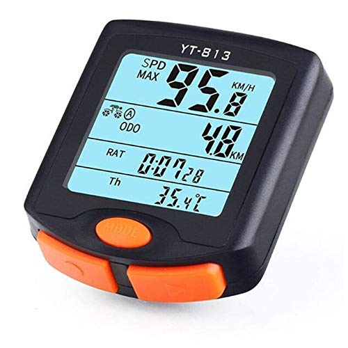 KEHUITONG Bicicleta Impermeable del Ordenador inalámbrico y alámbrico de MTB Bici del odómetro del velocímetro Cronómetro Reloj LED Rate Digital