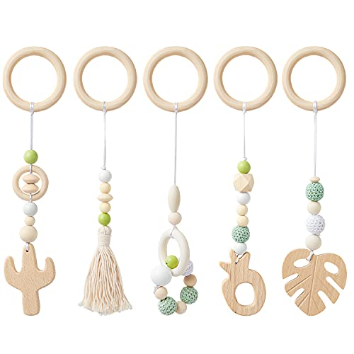 R HORSE 5 Baby Play Gym Toy Set Wooden Hanging Toy for Infant Play Activity Teether Rattles Toy Gym Wooden Nursing Pendant Gym Sensory Birthday Shower Gifts Toys for Newborn Gift