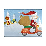 DFHome Santa Scooter Lightweight Carpet Mats Area Soft Rugs Floor Mat Rug Home Decoration for Kids Room Living Room 63 x 48 inches Bodenmatte
