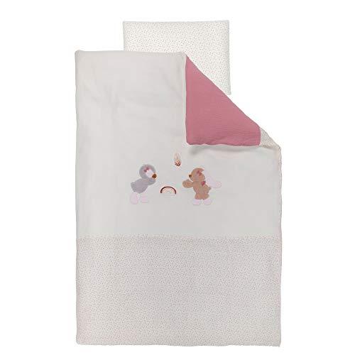 Nattou Set de ropa de cama con estapado reversible Conejita y pingüino, Funda nórdica 100 x 140 cm y funda de cojín 40 x 60 cm, Pauline y Sasha, Rosa palo/blanco