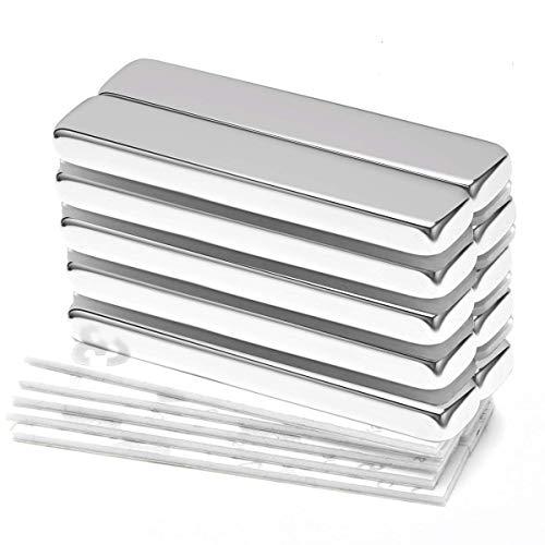 Starker magnet Neodym Magnete Wukong, 10 Stücke Super Stark Kräftig Neodym Viereckig Ziegel Magnete 50 x 10 x 5MM, Seltenerdmagnete sehr starker Haftung für Glas-Magnetboards, Magnettafeln