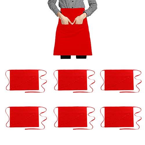 Hi loyaya Large Size Red Waitress Apron with 3 Pockets Half Waist Server Aprons for Women Men Waiter Restaurant Kitchen Red Large