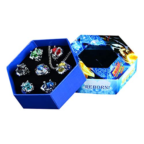 Wanfor Ring, 7Pcs/Set Katekyo Hitman Reborn Vongola Alloy Rings Anime Cosplay Fashion Jewelry