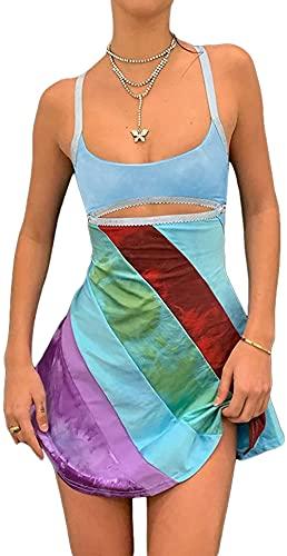 kabng Mujeres s Sexy Halter cuello Bodycon vestido de punto Slim Fit Mini vestido sin mangas corto apretado vestido Y2K Clubwear, y2k ropa de moda, Mujer, D Azul, XL