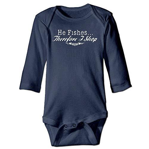 Body de manga larga para bebé con diseño de Crawler para bebé, unisex, para niños pequeños con texto en inglés «He Fishes I Shop» para niños, traje de manga larga, traje de sol azul marino