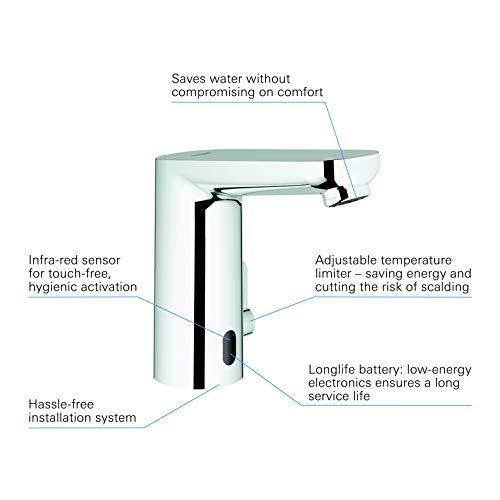 Grohe – Waschtisch-Sensorarmatur, Kalt- und Warmwasser, Batterieversorgung inkl., Funktionsmodi, Chrom - 4