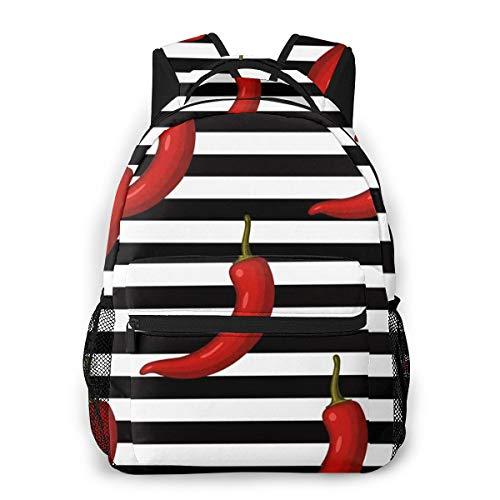 Laptop Rucksack Daypack Schulrucksack Backpack Chili Pfeffer Streifen, Business Taschen Freizeit Rucksack Arbeits Schultasche für Herren Männer Schüler Schule