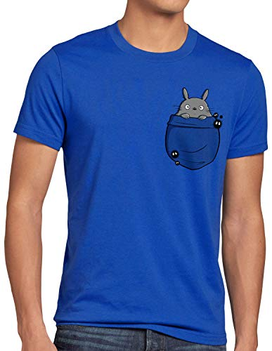 style3 Totoro Bolsillo Camiseta para Hombre T-Shirt mi Vecino Anime Pocket