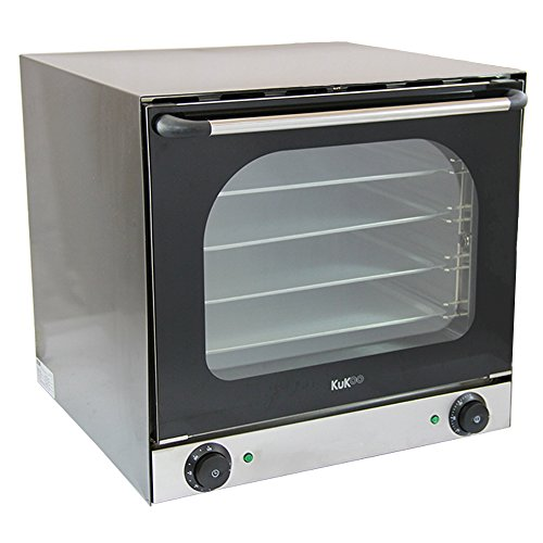 Electric Convection Oven Countertop Commercial Table-Top Baking Oven Fan-Assisted Double-Layer Glass Temperature Control Timer Included 4 Trays &1 Tray Handle