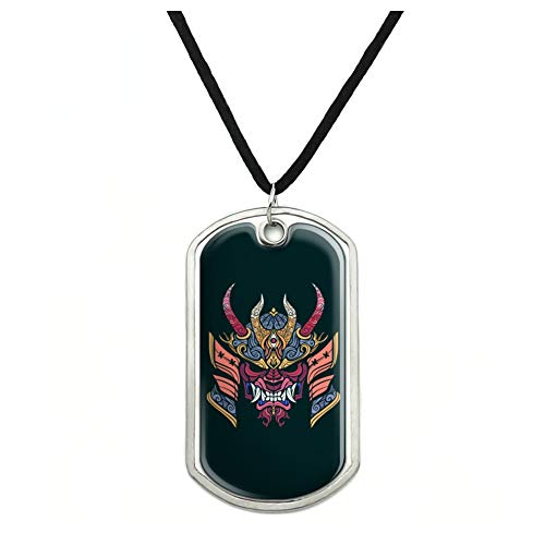 GRAPHICS & MORE Samurai Warrior Japanese Demon Oni Mask Military Dog Tag Pendant Necklace with Cord