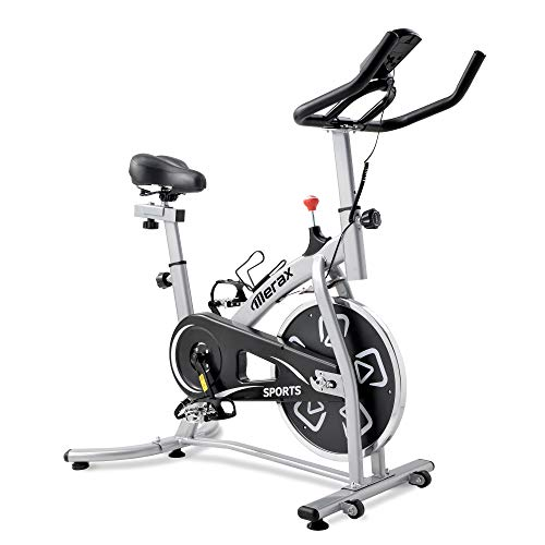 Merax BTM Exercise Bike,Fitness bike,Indoor Cycling Bike,adjustable handlebars & seat on board, LCD Monitor,reads speed, distance, time, calories + pulse (Schwarzes & Silber)