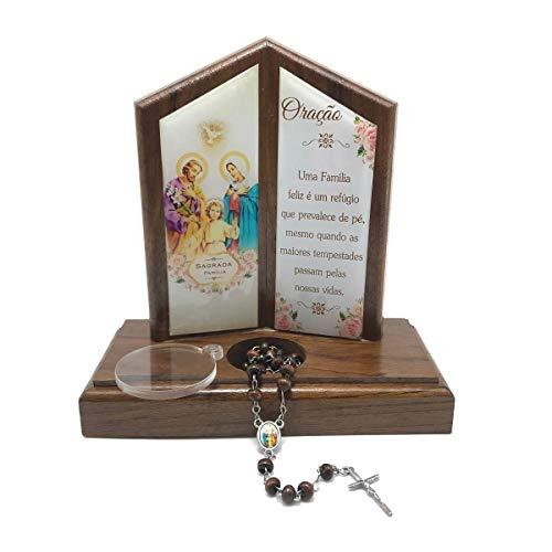 Oração de Mesa com Porta Terço Sagrada Família