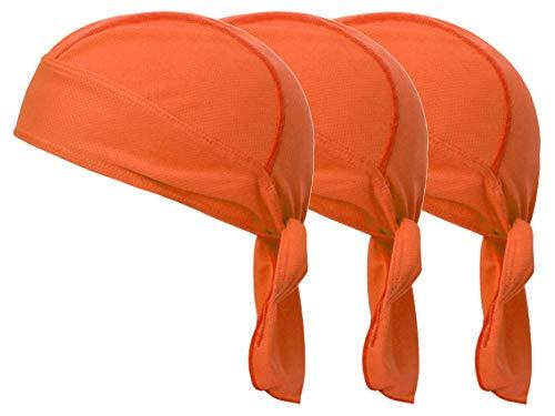 速乾 メッシュ素材 バンダナキャップ ヘルメットインナー 帽子 無地 オレンジ 3枚セット