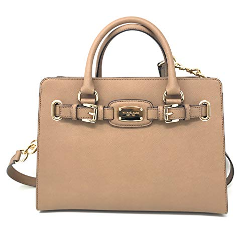 """Large sized bag; 12""""W x 8-1/2""""H x 5-1/4""""D Interior features 1 zip pocket, 2 open pockets 4-1/2""""L double handles; 19-1/2"""" to 22-1/2""""L adjustable strap Exterior features gleaming hardware Magnetic snap closure; Saffiano leather"""