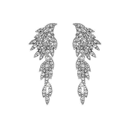 LLXXN Pendientes de alas de ángel de Moda Pendientes Largos de Novia de Diamantes de imitación