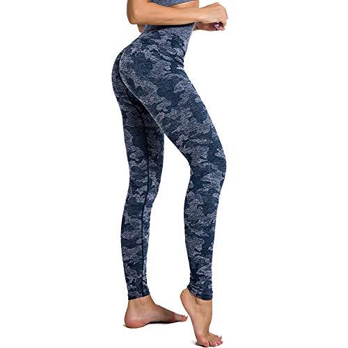 SotRong Mallas Running Mujer Leggings Cintura Alta Deportes Yoga Largos Elásticos y Transpirables Pantalones Para Gym Fitness de Ejercicio Camuflaje Impresión Azul S
