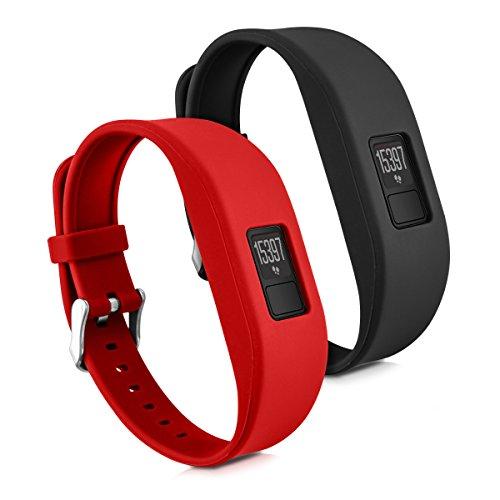 kwmobile 2X Pulsera para Garmin Vivofit 3 - Brazalete de [Silicona] [Rojo Negro] sin Fitness Tracker